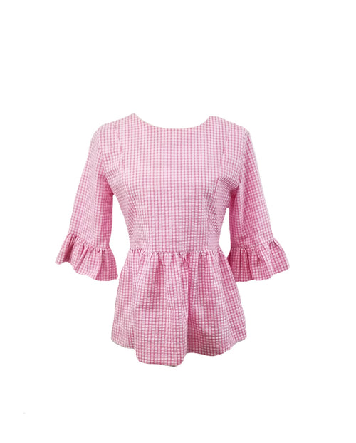 The Carolina Top in Pink gingham seersucker