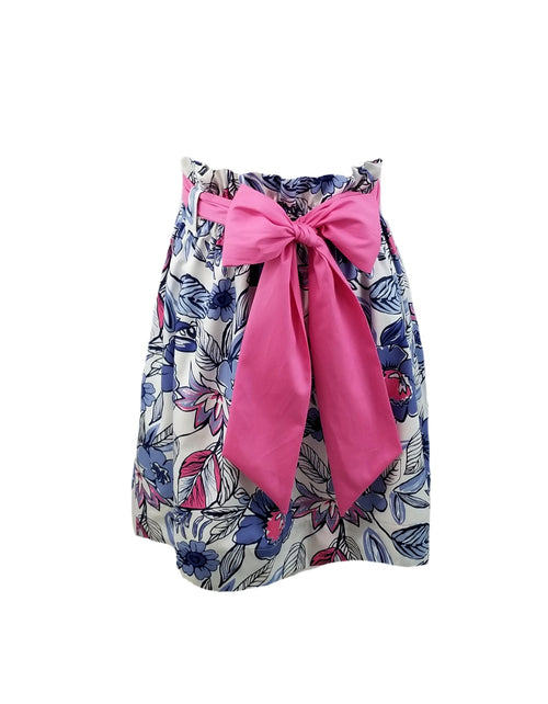 The Derby Skirt in Navy Floral with pink sash