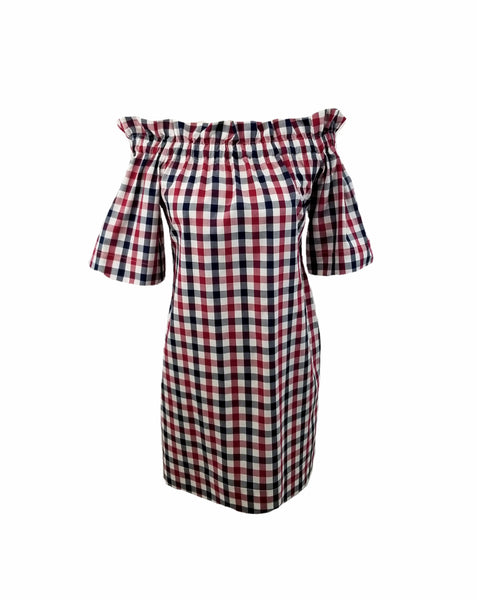 "The Derby Dress in Red, White, & Navy 1/2"" gingham"