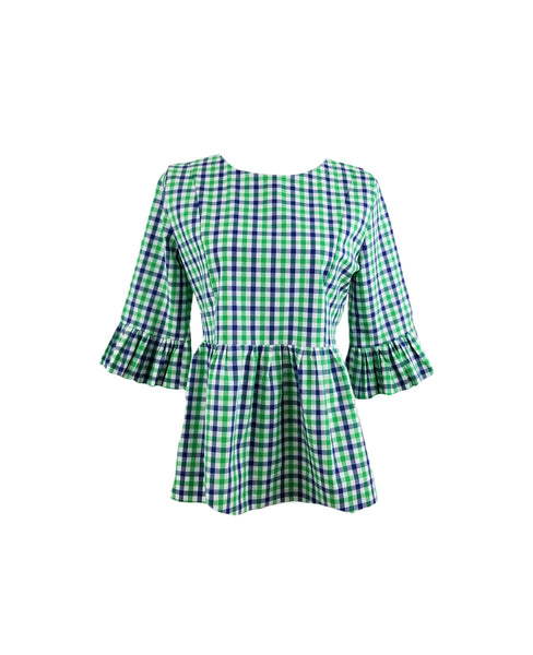 The Carolina Top in Green & Navy gingham