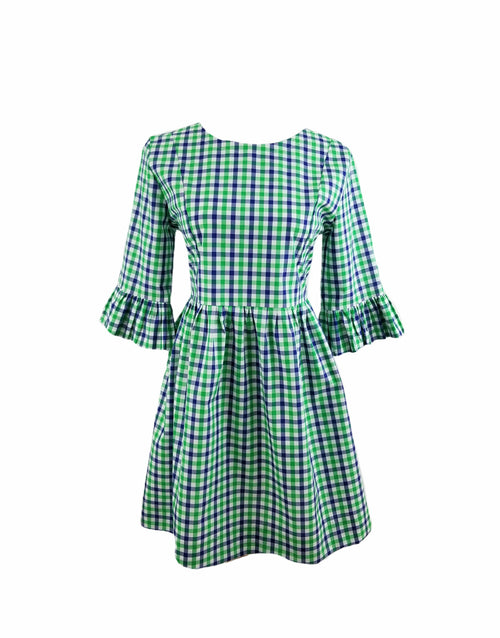 The Carolina Dress in Green & Navy gingham