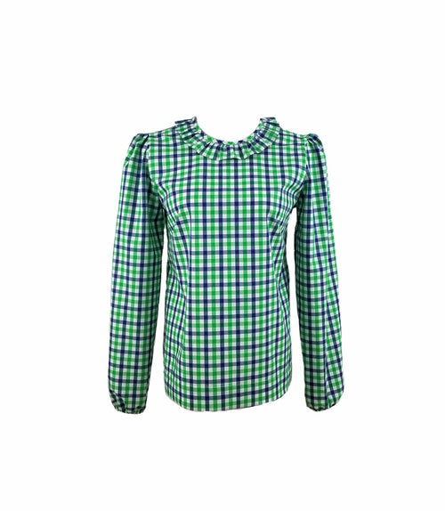The Windsor Top in Green and Navy gingham check