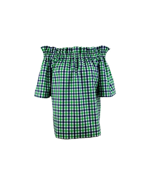 The Derby top in Green and Navy Gingham