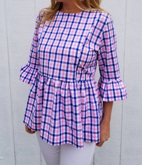 The Carolina Top in Pink & Navy gingham Check
