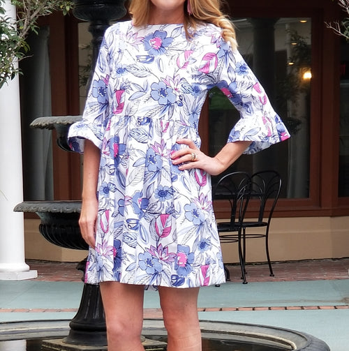 The Carolina Dress in Navy Floral