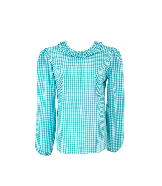 The Windsor Top in Aqua gingham