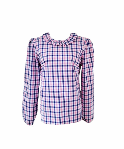 The Windsor Top in Pink and Navy gingham check