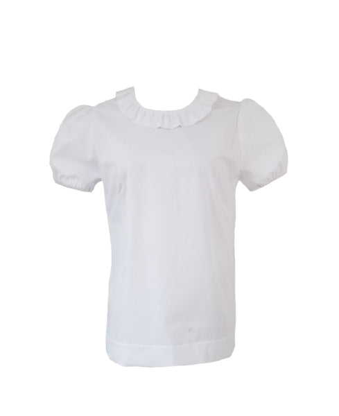 The Windsor Top short sleeve in White Oxford