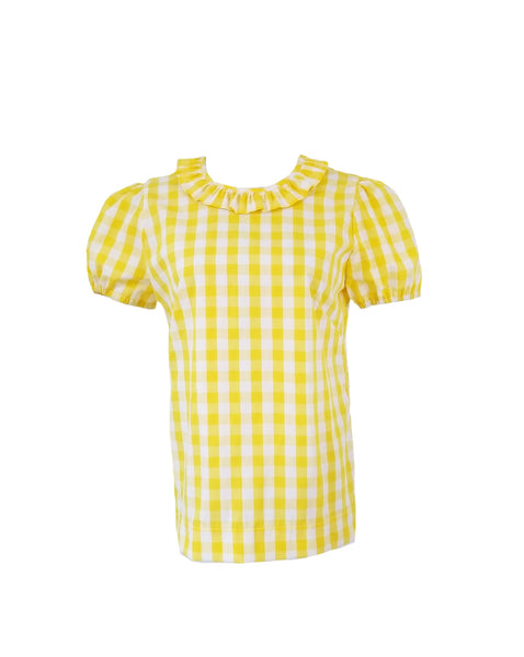 "The Windsor Top short sleeve in yellow 1/2"" gingham"