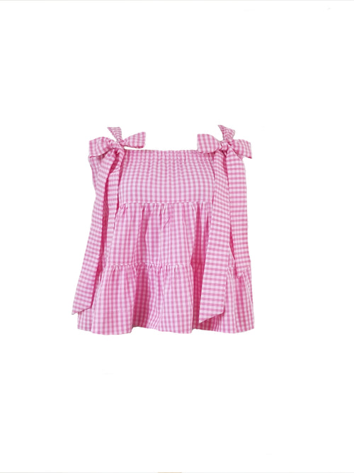 "The Florence Top in pink 1/4"" gingham"