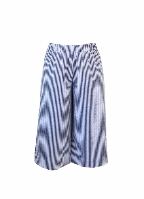 The Coastal Culotte in Wide Navy Seersucker