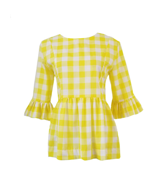 "The Carolina Top in yellow 1"" gingham"