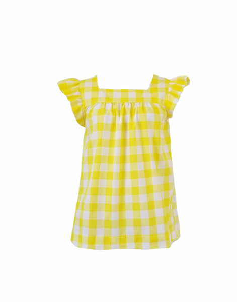 "The Low Country Top in yellow 1"" gingham"