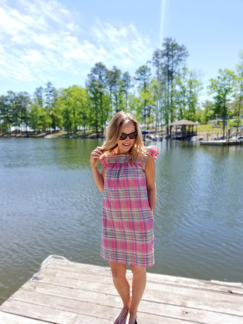 The Low Country Dress in Pink Plaid Madras