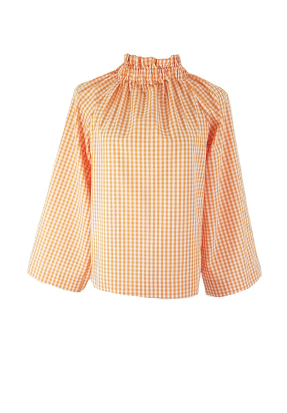 The Peak Top in Orange gingham