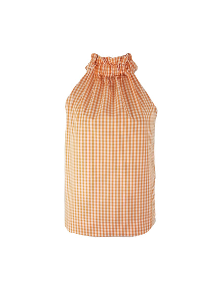 The Kiawah Top in Orange Gingham