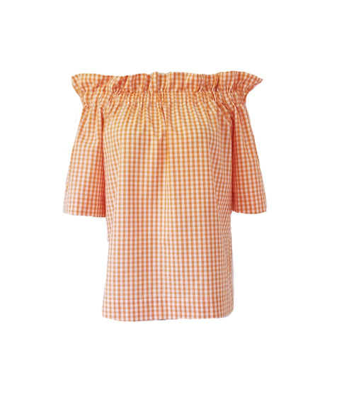 The Derby top in Orange Gingham