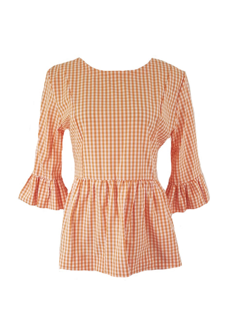 The Carolina Top in Orange gingham