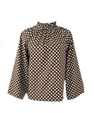 The Peak Top in Brown Polka Dot