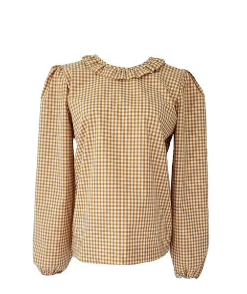 The Windsor Top in Butterscotch gingham