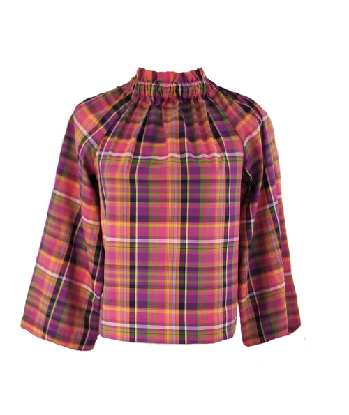 The Peak Top in Mulberry Plaid