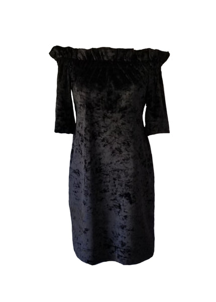 The Derby Dress in Black Velvet Velour