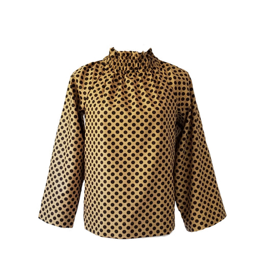 The Peak Top in Gold Polka Dot