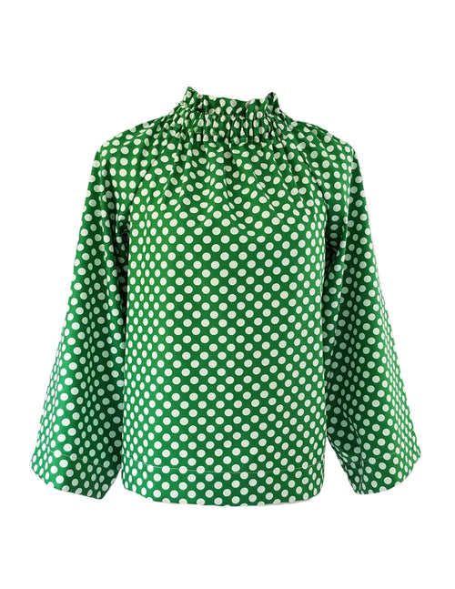 The Peak Top in Green Polka Dot
