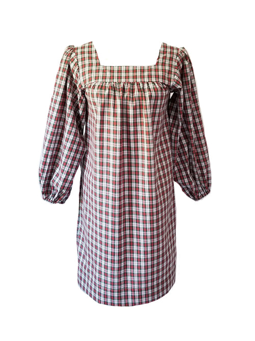 The Bluffton Dress in Christmas Tartan Plaid