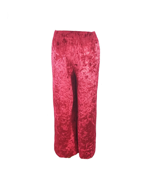 The Coastal Culotte in Red Velvet Velour