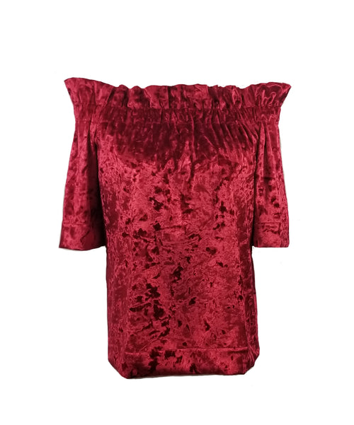 The Derby top in Red Velvet Velour