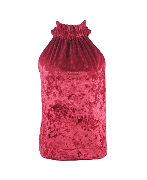 The Kiawah Top in Red Velour Velvet