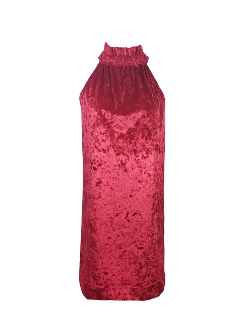 The Kiawah Dress in Red Velvet Velour