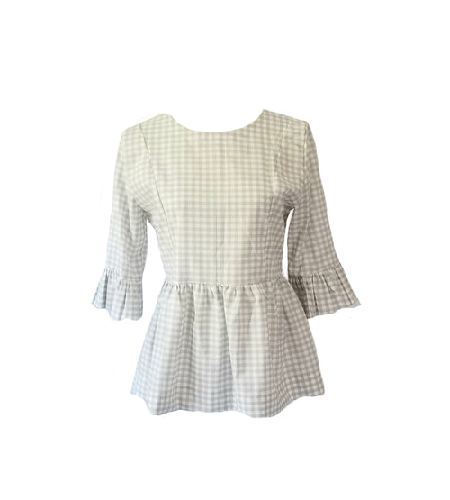 The Carolina Top in Grey Gingham