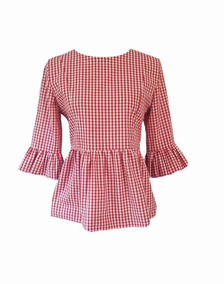 The Windsor Top in Black gingham