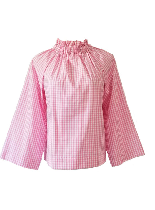 "The Peak Top in Pink 1/4"" Gingham"