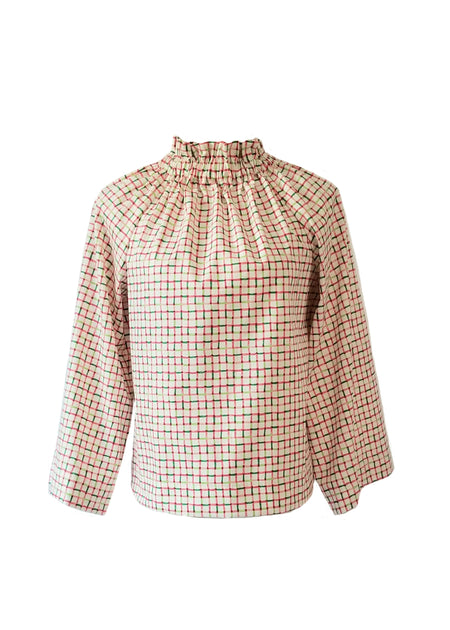 The Derby top in Hot Pink Houndstooth