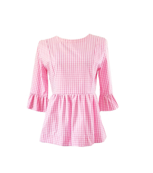 "The Carolina Top in Pink 1/4"" gingham"