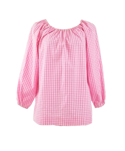"The Hampton Top in Pink 1/4"" Gingham"