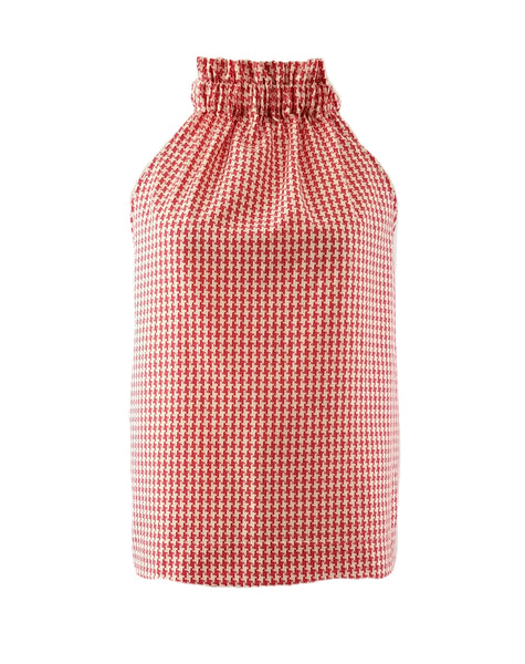 The Kiawah Top in Red Houndstooth