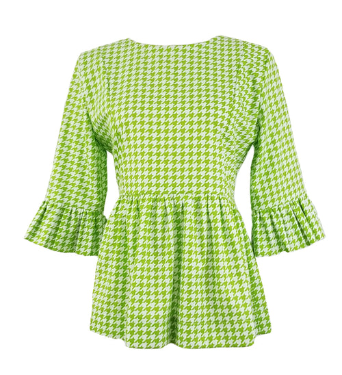 The Carolina Top in Lime Green Houndstooth