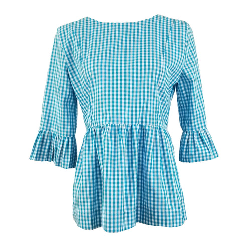 "The Carolina Top in Turquoise 1/4"" Gingham"