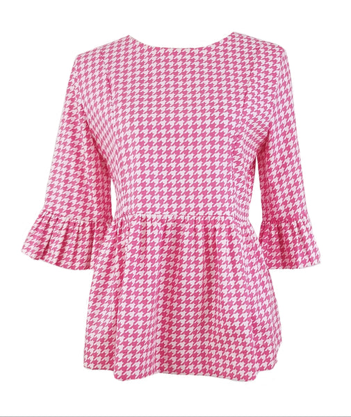 The Carolina Top in Hot Pink Houndstooth
