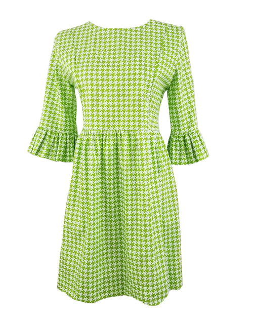 The Carolina Dress in Lime Green Houndstooth