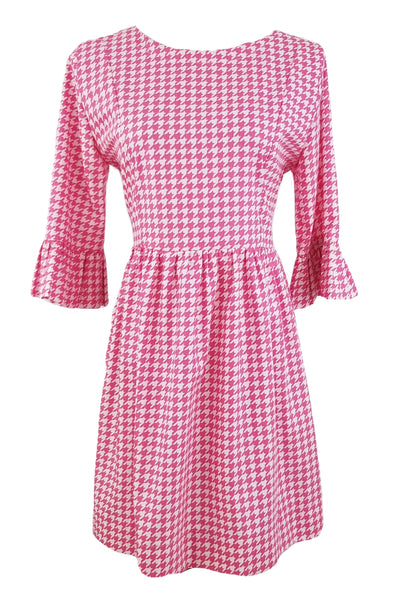 The Carolina Dress in Hot Pink Houndstooth