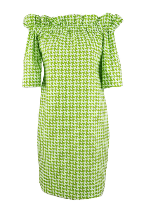The Derby Dress in Lime Green Houndstooth