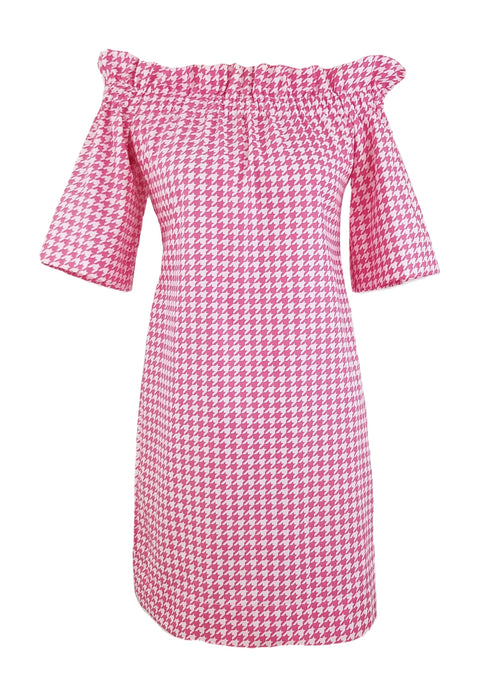 The Derby Dress in Hot Pink Houndstooth