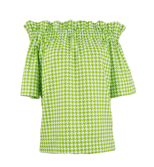 The Derby top in Lime Green Houndstooth
