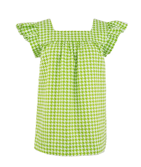 The Kiawah Top in Lime Green Houndstooth