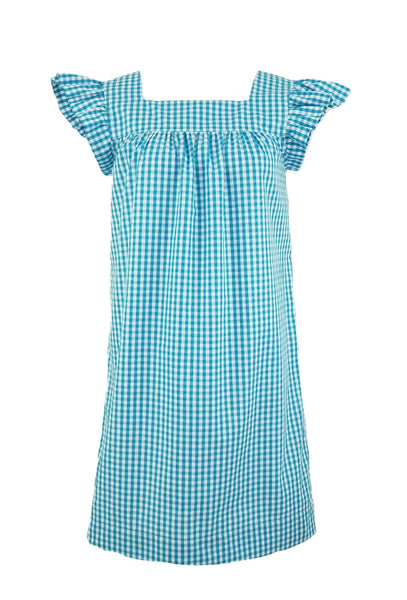 "The Low Country Dress in Turquoise 1/4"" gingham"